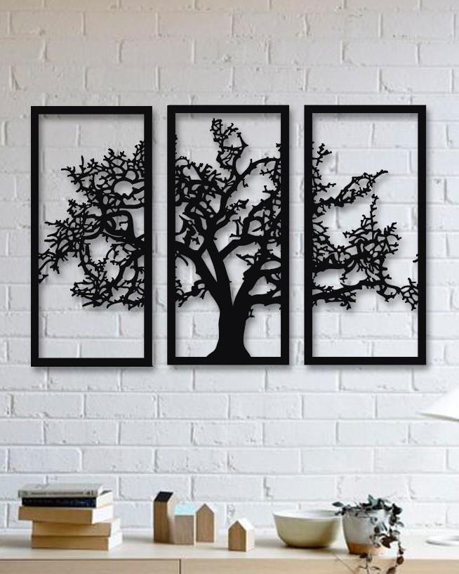 Tree 3 Pieces Metal Wall Art Dagrof