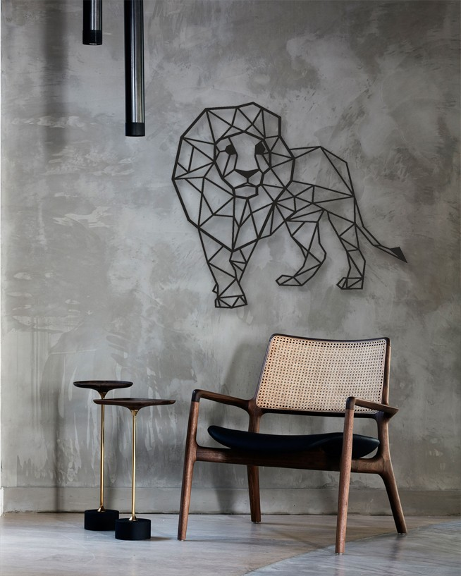 Lion Design Geometric Metal Wall Art